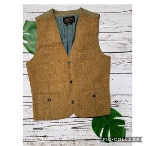 LUCKY BRAND Wool Tan Blue Button Vest